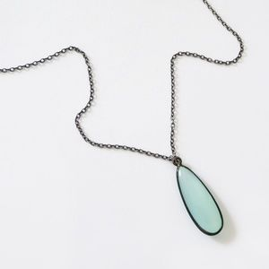 Elongated Chalcedony Pendant Necklace